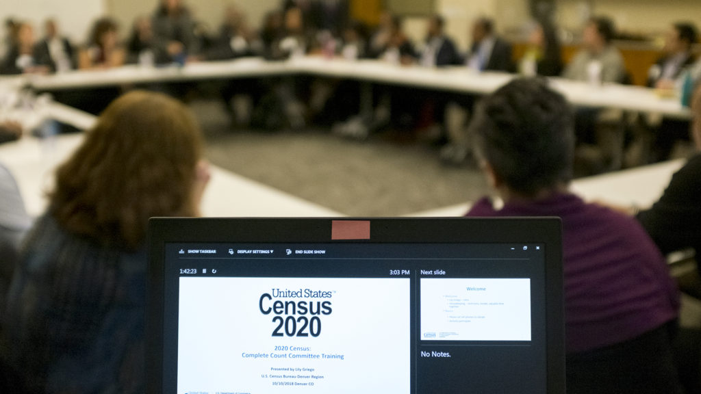 The Denver Complete Count Committee convenes on how to ensure every resident is counted for the 2020 census. Blair-Caldwell African American Research Library, Oct. 10, 2018. (Kevin J. Beaty/Denverite)