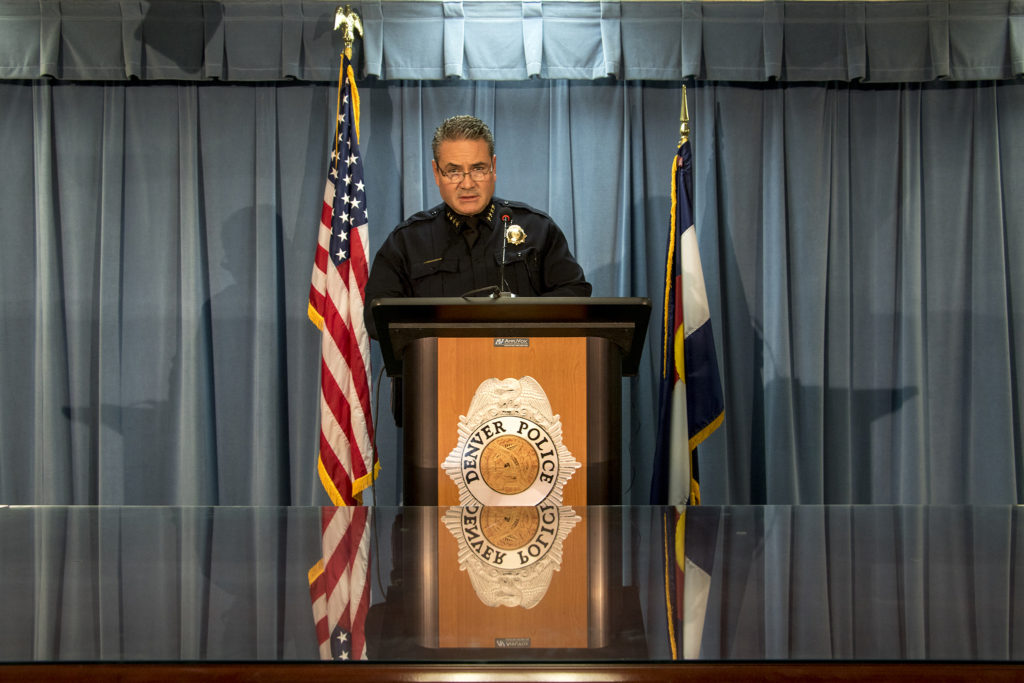 Denver Police Chief Paul Pazen speaks to press at DPD headquarters, Oct. 16, 2018. (Kevin J. Beaty/Denverite)