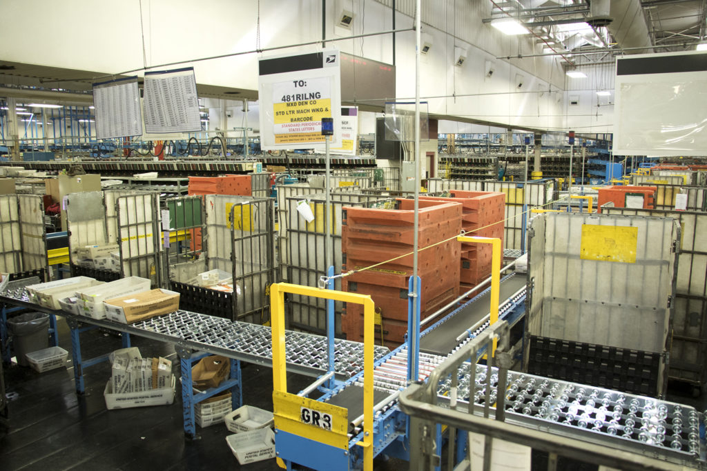 The U.S. Postal Service's massive sorting and shipping facility in Stapleton, Oct. 16, 2018. (Kevin J. Beaty/Denverite)