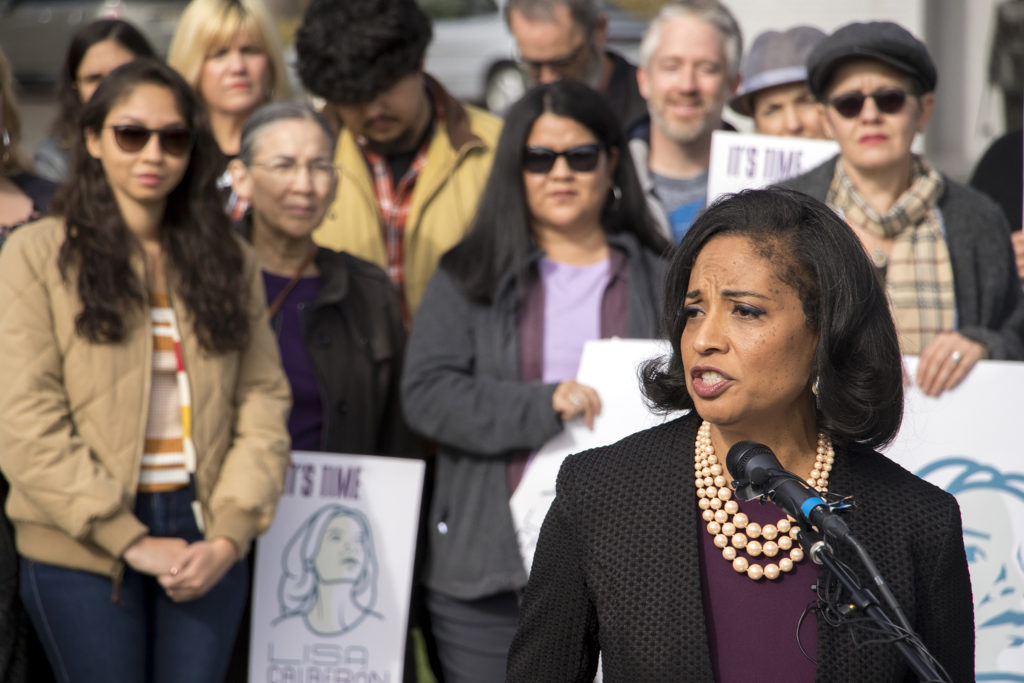 Lisa Calderón holds her first rally after announcing that she will run for Denver mayor. City Park, Oct. 17, 2018. (Kevin J. Beaty/Denverite)