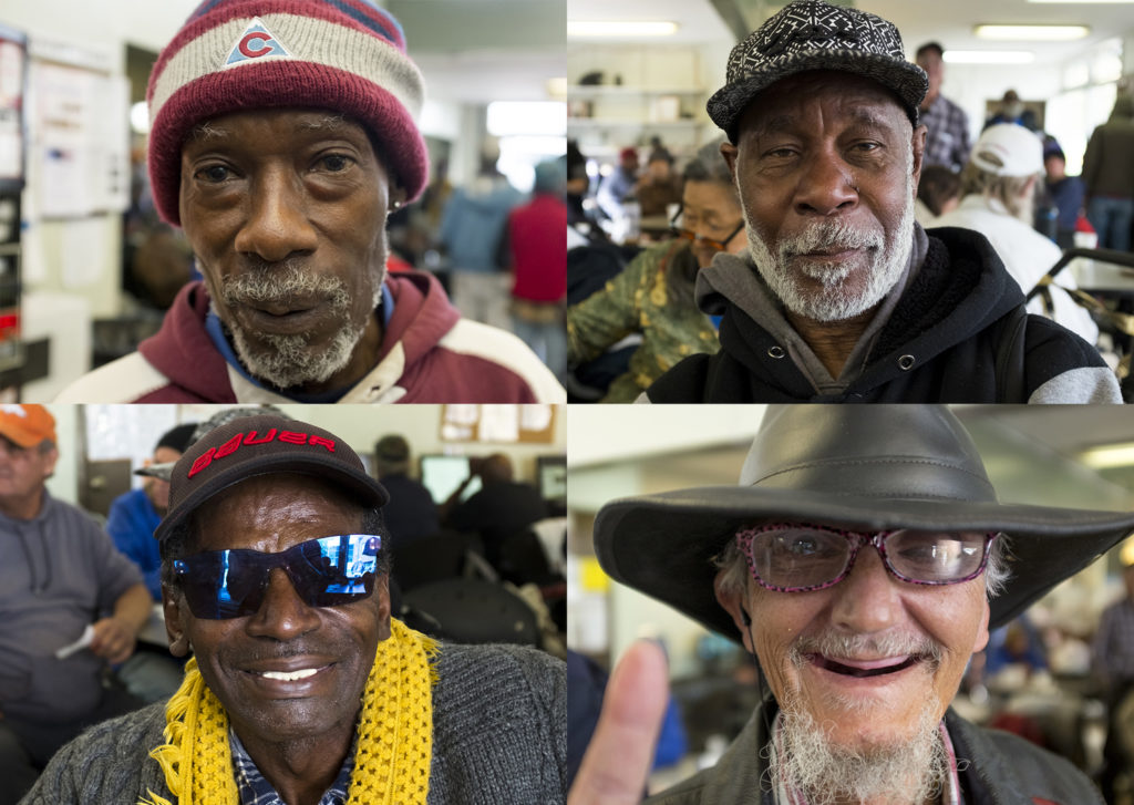 James Allensworth (clockwise from top left), James Hartfield, Mike Cloutier and Kevin Cook pose for portraits inside Senior Support Services in North Capitol Hill, Oct. 17, 2018. (Kevin J. Beaty/Denverite)