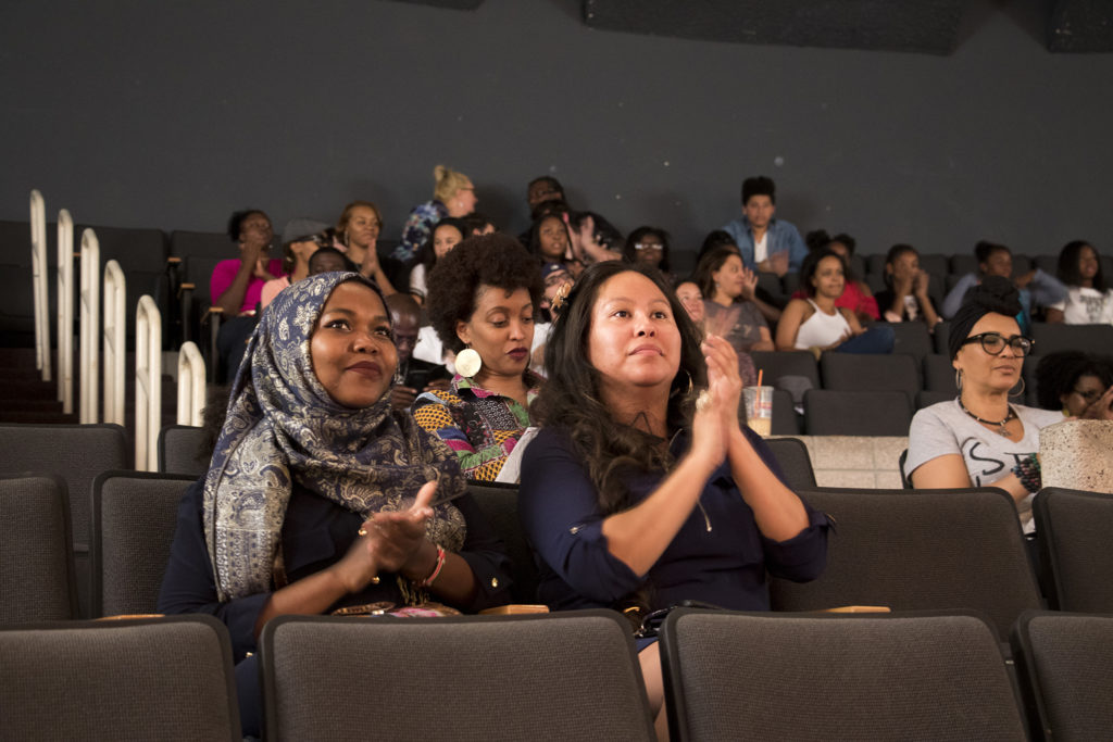 The crowd cheers for Miss Curly Pageant contestants. Collegiate Prep Academy, Montbello, Oct. 21, 2018. (Kevin J. Beaty/Denverite)