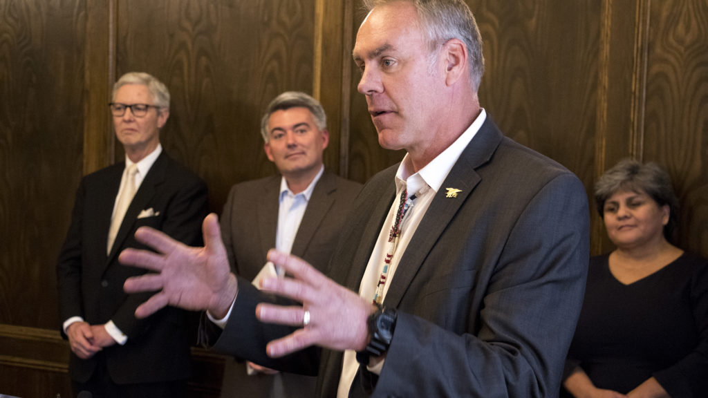 Secretary of the Interior Ryan Zinke speaks at a press conference with Rep. Ed Perlmutter and Sen. Cory Gardner to announce a new partnership between the Colorado School of Mines and U.S. Geological Survey. Denver Athletic Club, Oct. 22, 2018. (Kevin J. Beaty/Denverite)