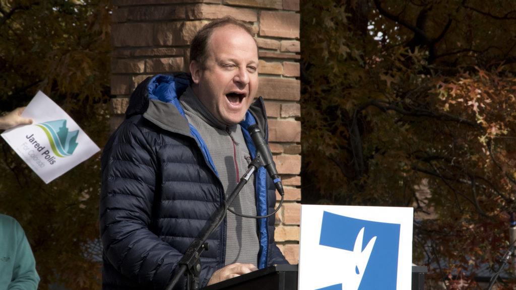 Democratic gubernatorial candidate Jared Polis speaks during a Bernie Sanders rally at CU Boulder, Oct. 24, 2018. (Kevin J. Beaty/Denverite)