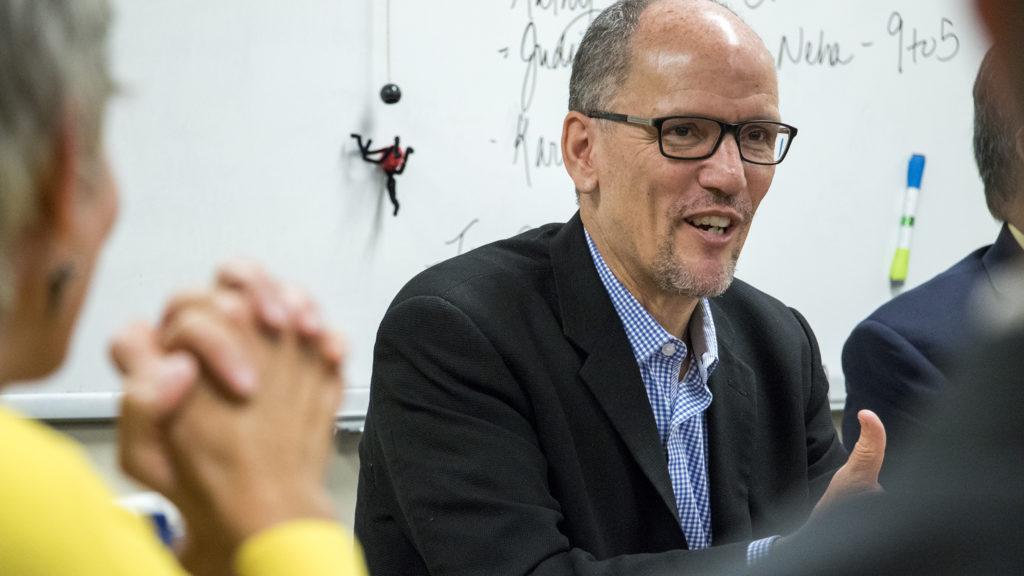 Democratic National Committee chairman Tom Perez speaks on a panel at Servicios de la Raza, Oct. 30, 2018. (Kevin J. Beaty/Denverite)