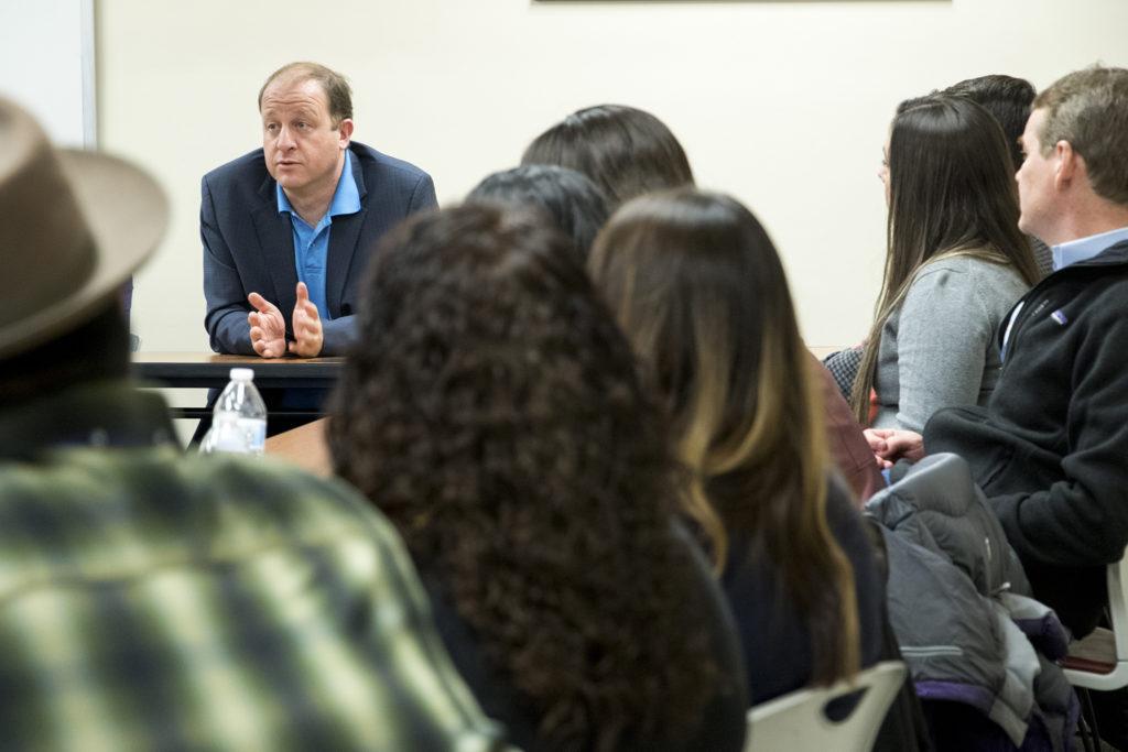 Gubernatorial candidate Jared Polis speaks on a panel at Servicios de la Raza, Oct. 30, 2018. (Kevin J. Beaty/Denverite)