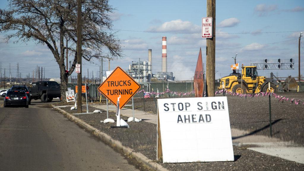 Construction on Brighton Boulevard north of I-70, Oct. 31, 2018. (Kevin J. Beaty/Denverite)
