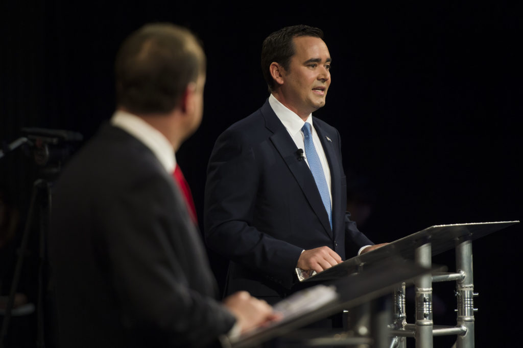 Republican candidate for Colorado governor Walker Stapleton, right, participating in a debate against Democratic candidate for Colorado governor Jared Polis on Wednesday, Oct. 17, 2018, at the Lory Students Center on Colorado State University's campus in Fort Collins, Colo. (Timothy Hurst/The Coloradoan)