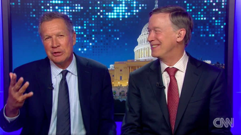 A screengrab from a CNN segment with BFFs Ohio Gov. John Kasich and Colorado Gov. John Hickenlooper.