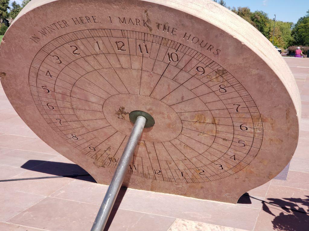 A closer look at the recently restored sundial in Cranmer Park. (Allan Tellis/Denverite)