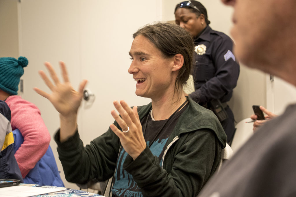 """Terese Howard speaks during a Denver Department of Safety meeting about the city's new """"Opportunity Index."""" St. John's Apartments, Oct. 30, 2018. (Kevin J. Beaty/Denverite)"""