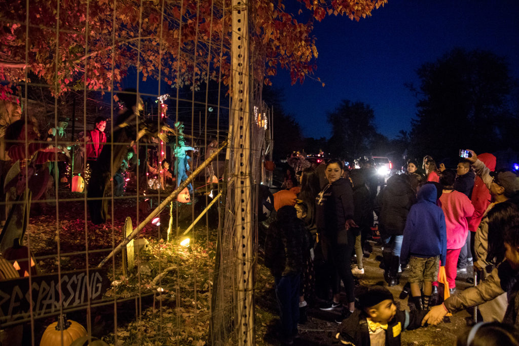Johnny Lee Sandoval's maniacal Halloween puppet show in front of his Mar Lee home, Oct. 31, 2018. (Kevin J. Beaty/Denverite)