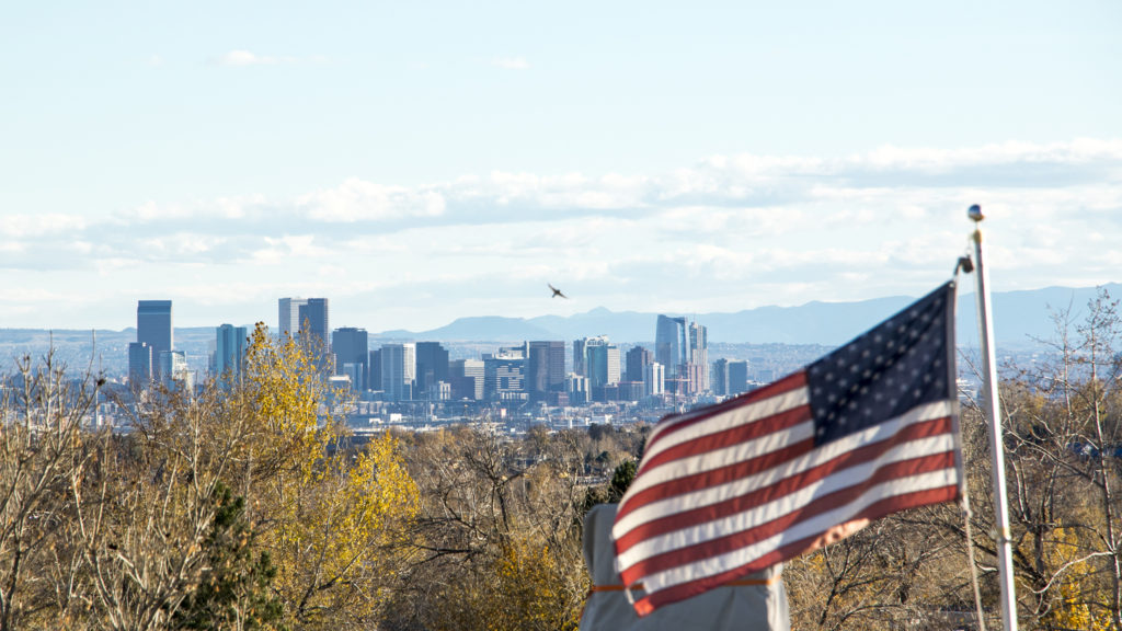 A view of downtown from Thornton, Nov. 1, 2018. (Kevin J. Beaty/Denverite)