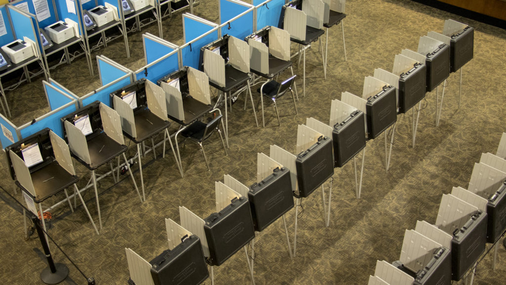 Early morning at Denver Elections' downtown headquarters on voting day, Nov. 6, 2018. (Kevin J. Beaty/Denverite)