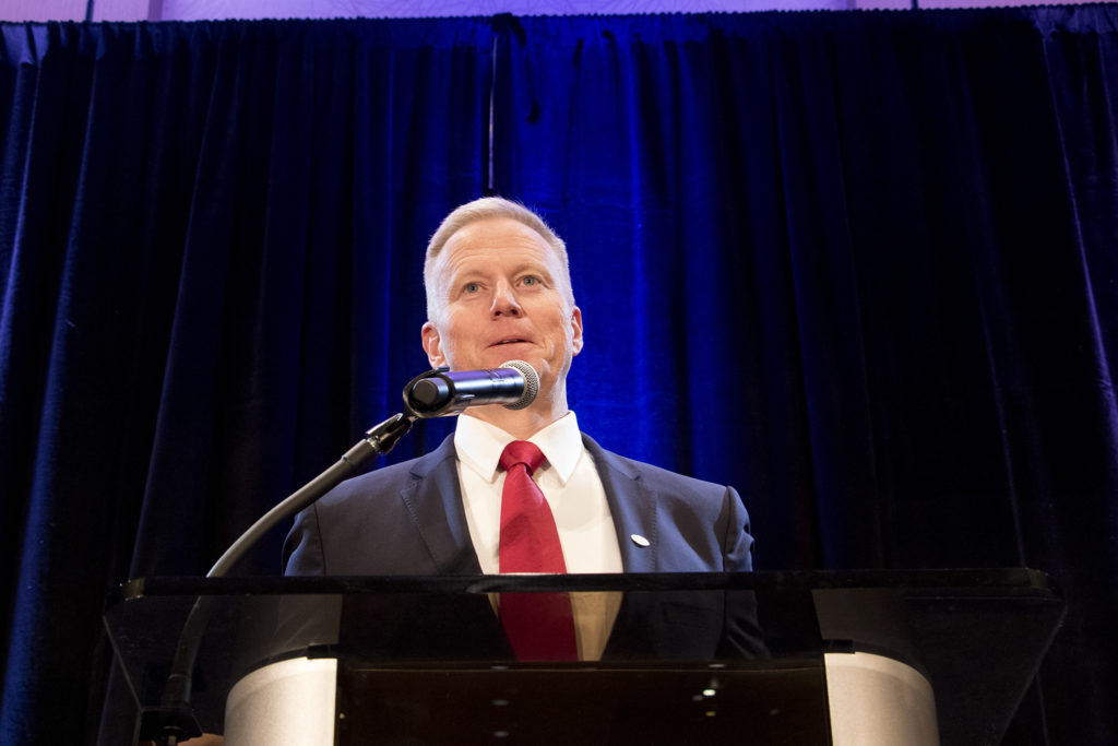 George Brauchler addresses the crowd at the Colorado Republicans' election day party, Nov. 6, 2018. (Kevin J. Beaty/Denverite)