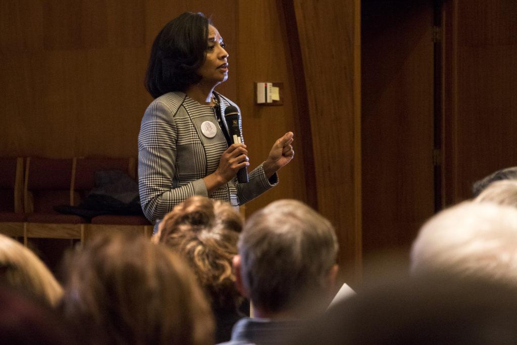 Lisa Calderón speaks during a public forum for Denver mayoral candidates at Messiah Community Church in South Park Hill, Nov. 13, 2018. (Kevin J. Beaty/Denverite)