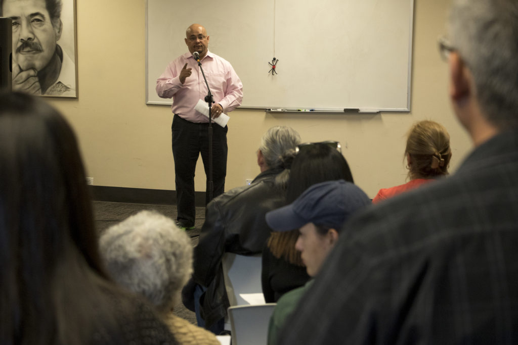 Outgoing state Rep. Joe Salazar speaks as Latino community leaders meet to discuss the community's representation in state government following the midterm election, Nov. 15, 2018. (Kevin J. Beaty/Denverite)