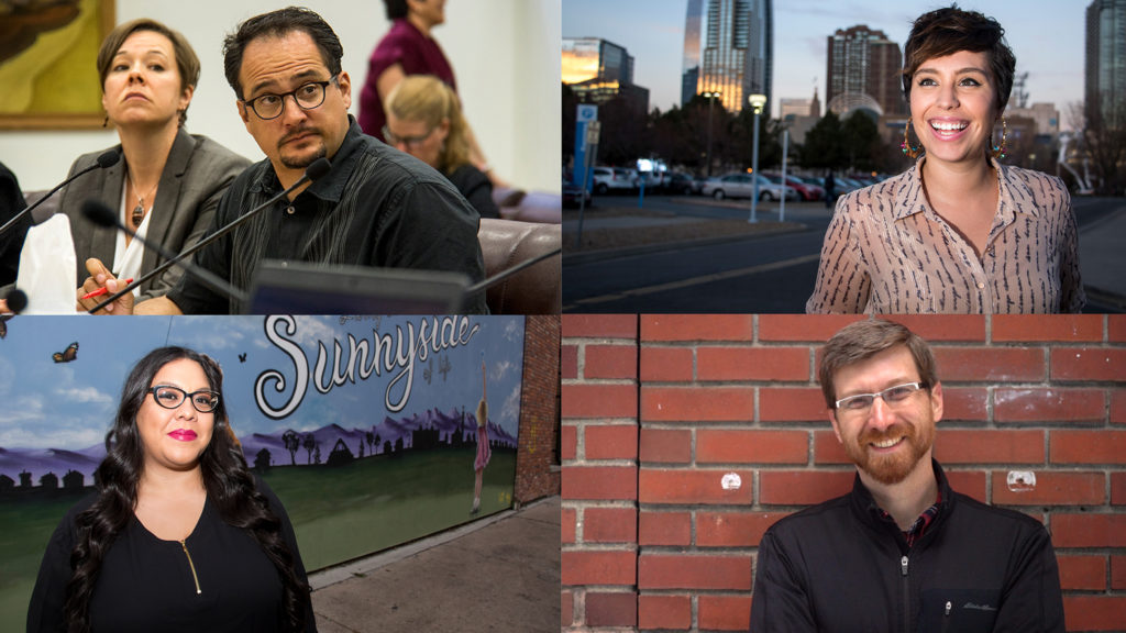 Denver City Council Rep. Rafael Espinoza (clockwise from top left) and challengers Raven Porteous, David Sabados and Victoria Aguilar. (Kevin J. Beaty/Denverite and courtesy: David Sabados)