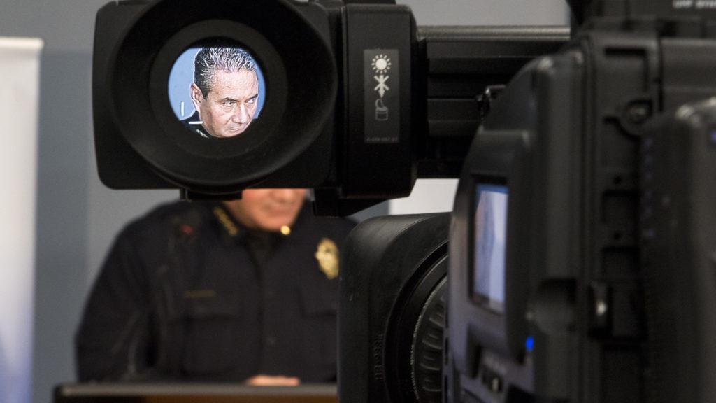 Denver Police Chief Paul Pazen addresses the press about a recent shooting downtown, Nov. 20, 2018. (Kevin J. Beaty/Denverite)