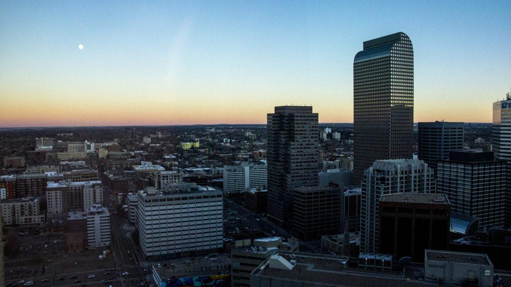 Downtown Denver at dusk, Nov. 20, 2018. (Kevin J. Beaty/Denverite)