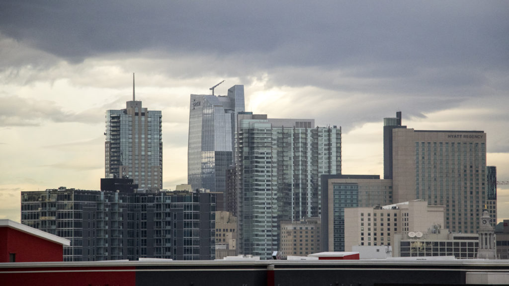 The Denver skyline seen from the 7S apartment building on 7th Avenue in Capitol Hill, Nov. 27, 2018. (Kevin J. Beaty/Denverite)