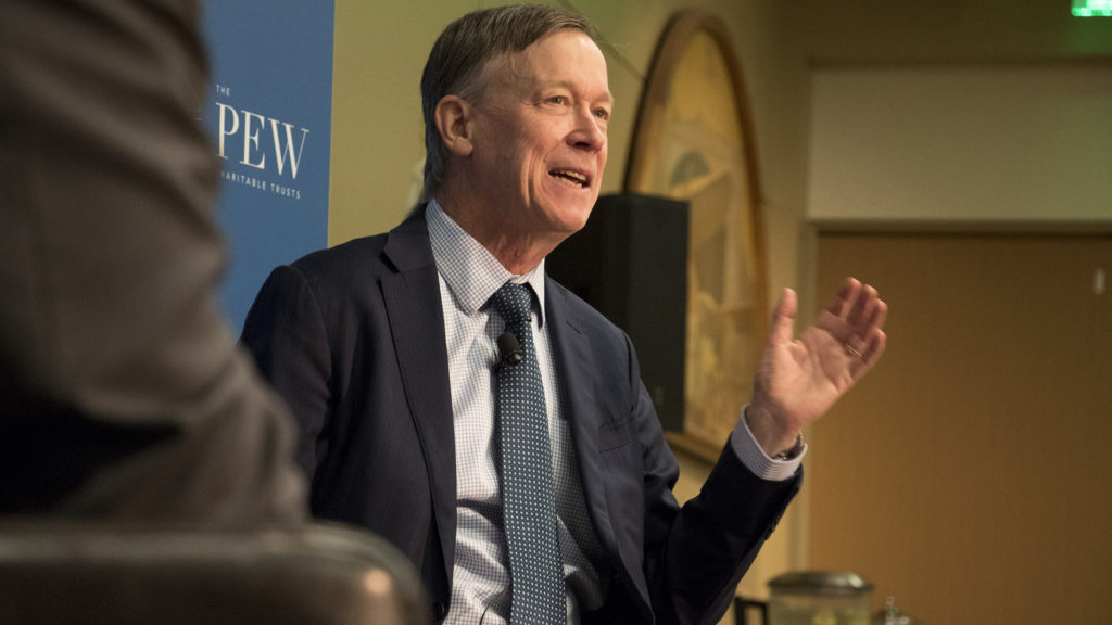 Governor John Hickenlooper and New Belgium Brewing Co. founder Kim Jordan speak about brewing and regulation in a discussion put on by the Pew Charitable Trust. History Colorado Center, Nov. 27, 2018. (Kevin J. Beaty/Denverite)