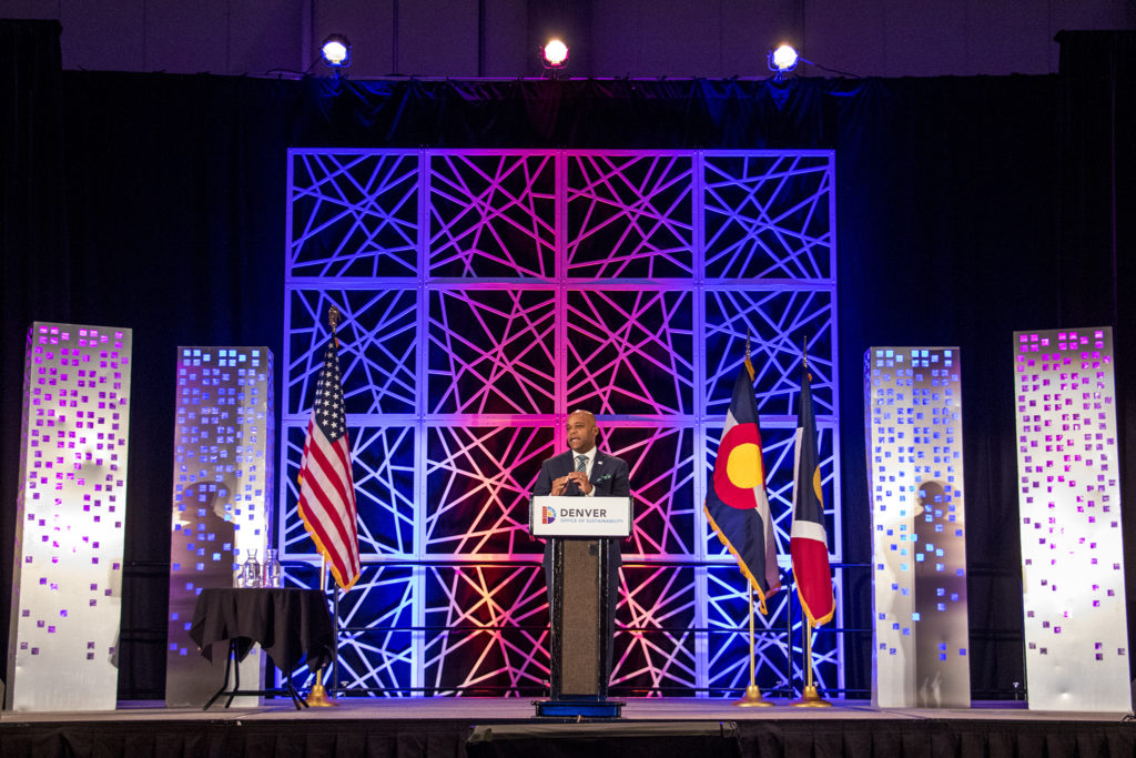 Mayor Michael Hancock speaks during the 2018 Sustainable Denver Summit at the Colorado Convention Center, Nov. 29, 2018. (Kevin J. Beaty/Denverite)