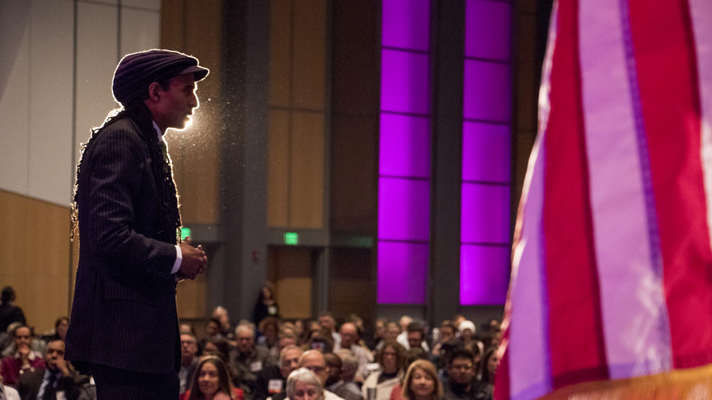 Mustafa Santiago Ali, vice president of climate, environmental justice and community revitalization for the Hip Hop Caucus, speaks during the 2018 Sustainable Denver Summit at the Colorado Convention Center, Nov. 29, 2018. (Kevin J. Beaty/Denverite)