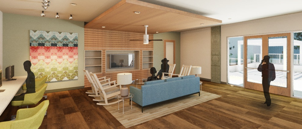 This architect's rendering shows what the community room in the new Delores Project shelter will look like. (Shopworks Architecture)