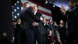 U.S. Rep. Jared Polis embraces Colorado Gov. John Hickenlooper after winning the election to replace him. Nov. 6, 2018.(Aly McClaran for Denverite)