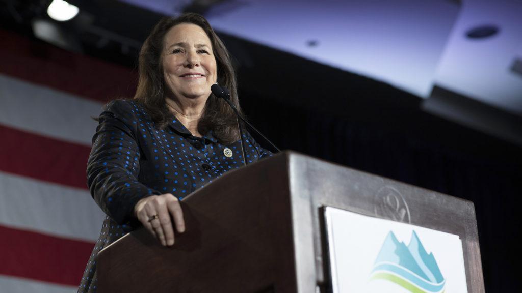 U.S. Rep. Diana Degette speaks during the Colorado Democrats' election night party, Nov. 6, 2018. (Aly McClaran for Denverite)