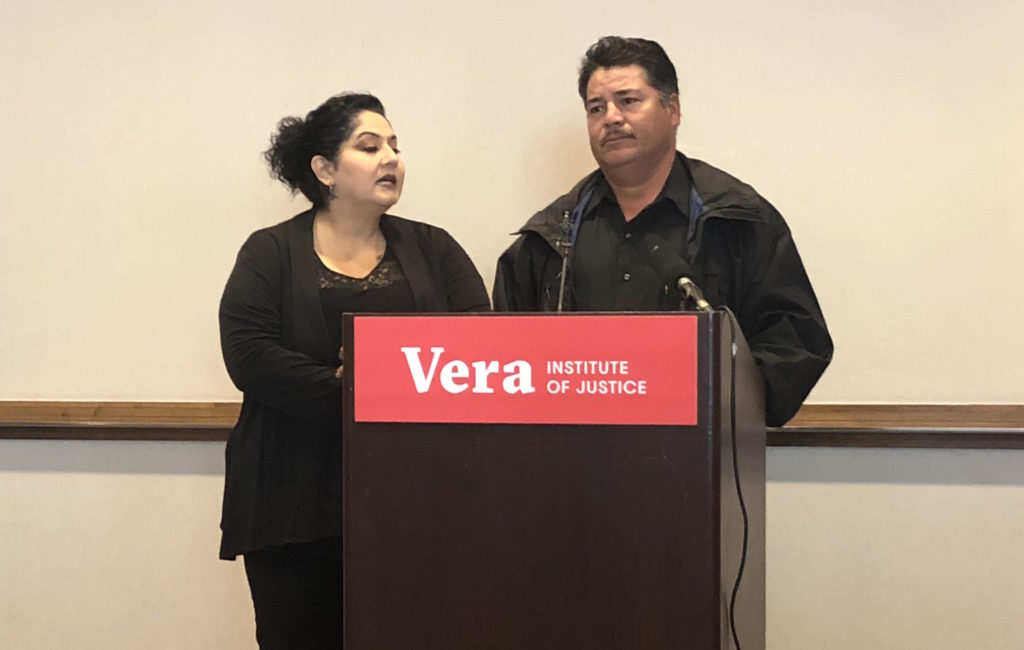 Alvaro Campos speaks through a translator about going to prison and then getting his visa. (David Sachs/Denverite)
