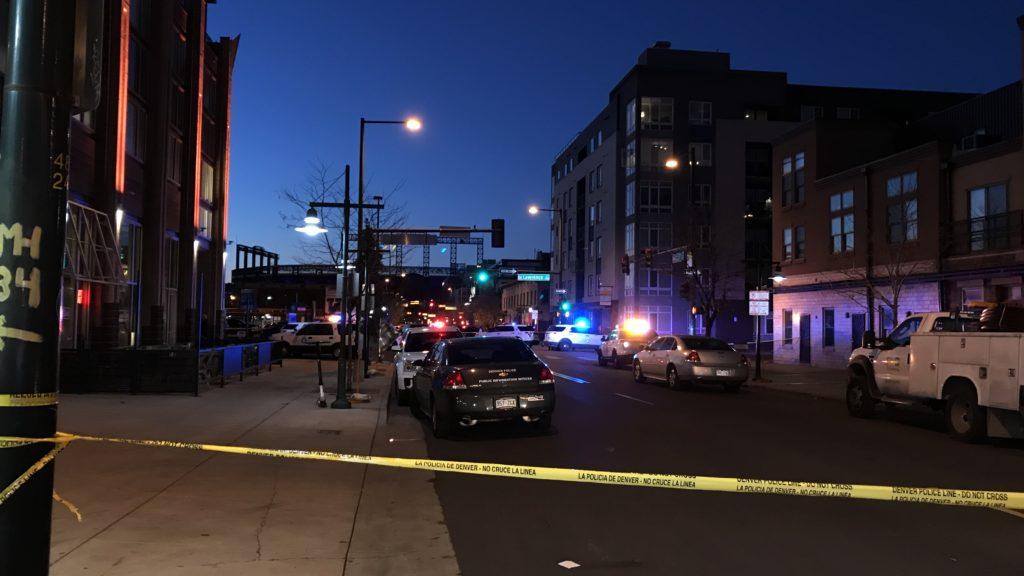 The scene of a shooting near 21st and Lawrence streets in downtown Denver. Nov. 19, 2018. (Esteban L. Hernandez/Denverite)