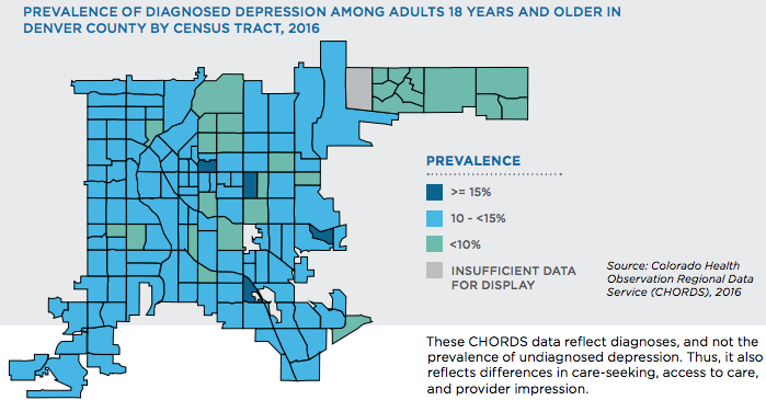 Prevalence of diagnosed depression among adults 18 years and older in Denver County by census tract, 2016. (Courtesy Denver Health)