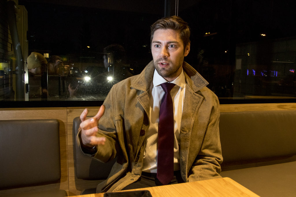 City Council District 8 candidate Patrick Floyd Thibault speaks to a reporter in a Colfax coffeeshop, Dec. 3, 2018. (Kevin J. Beaty/Denverite)