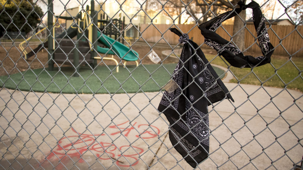Possible gang symbols at a playground in Cole. Dec. 1, 2018. (Kevin J. Beaty/Denverite)