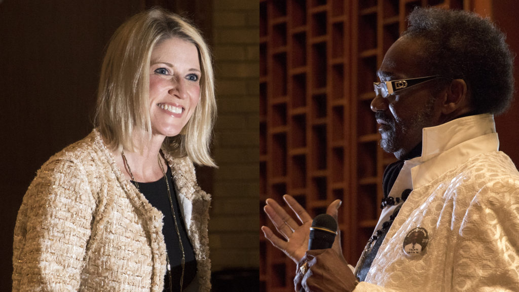 Jamie Giellis (left) and Chairman Seku speak at City Park Friends and Neighbors' second mayoral candidate forum at Messiah Lutheran Church, Dec. 4, 2018. (Kevin J. Beaty/Denverite)