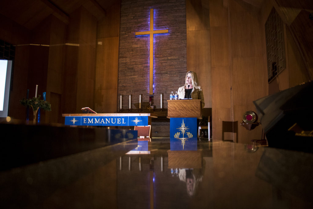 Jamie Giellis speaks at City Park Friends and Neighbors' second mayoral candidate forum at Messiah Lutheran Church, Dec. 4, 2018. (Kevin J. Beaty/Denverite)