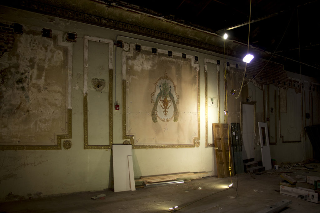 A peacock painting inside a historic theater on 44th Avenue in Berkeley that may be restored, Dec. 5, 2018. (Kevin J. Beaty/Denverite)