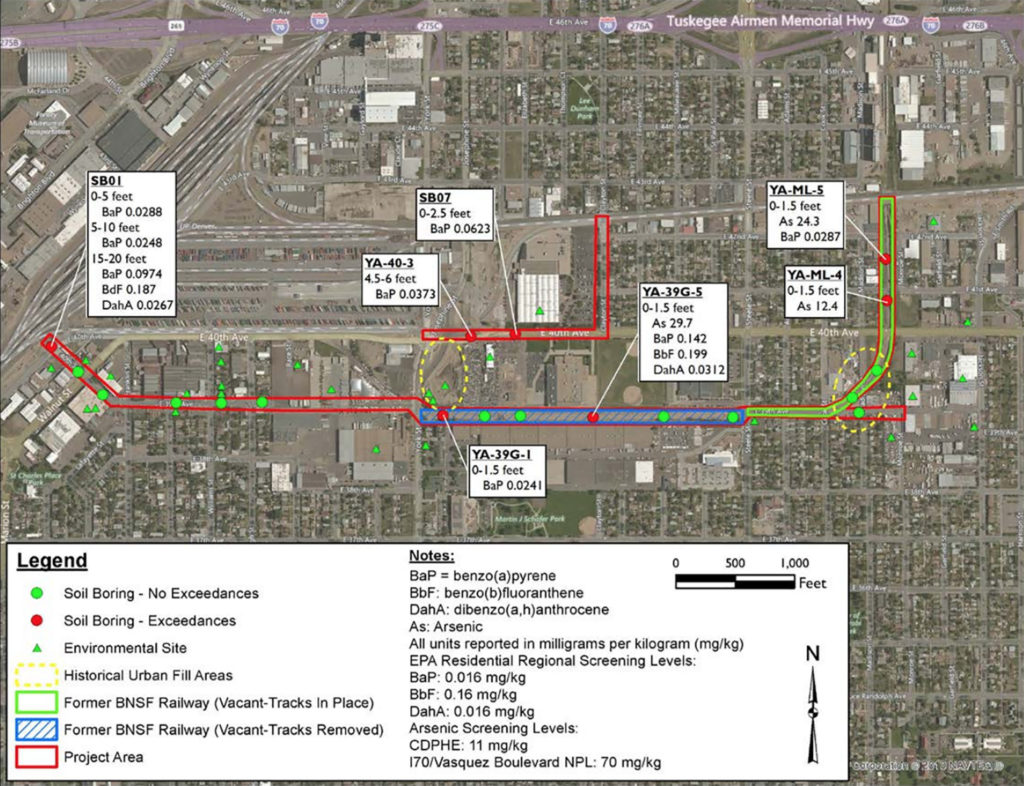 A map of soil samples taken along the 39th Avenue greenway project from a report on soil contamination. (Denver Department of Health and Environment)