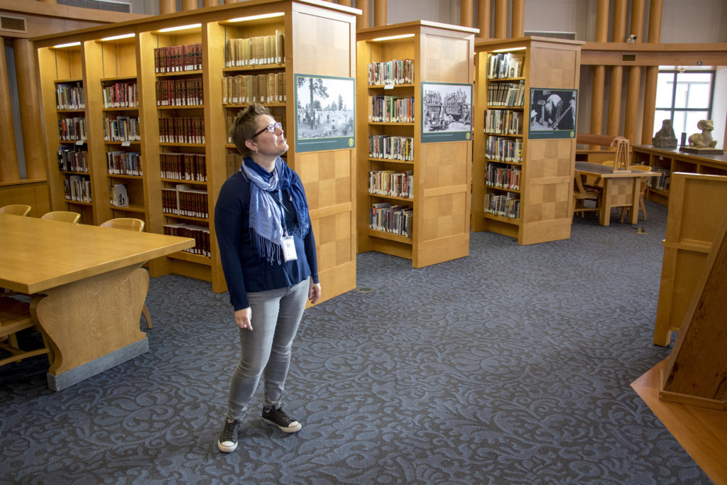 Denver central library administrator Rachel Fewell gives a tour of the Denver Public Library's Western History Collection, Dec. 12, 2018. (Kevin J. Beaty/Denverite)