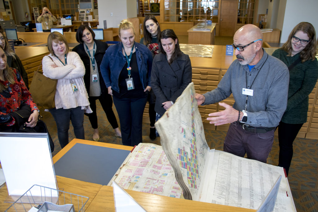 Senior librarian James Rogers gives a tour of Denver Public Library's Western History Collection, Dec. 12, 2018. (Kevin J. Beaty/Denverite)