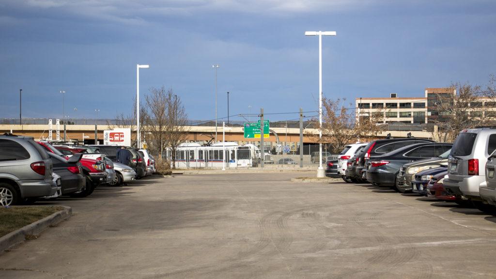 An RTD parking lot off Belleview Avenue that is not a part of Denver, Dec. 12, 2018. (Kevin J. Beaty/Denverite)