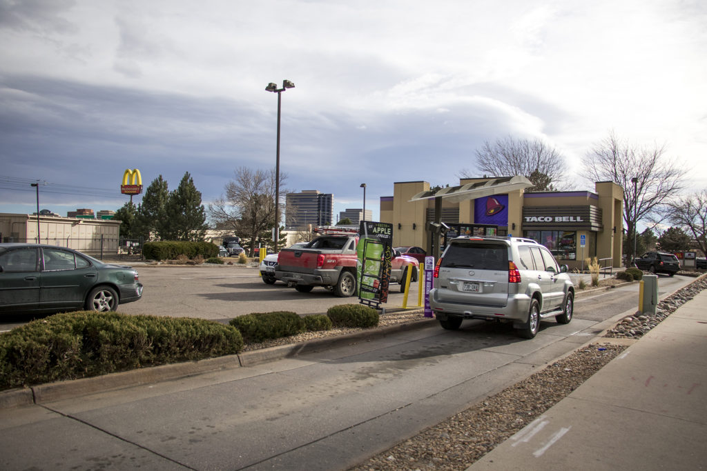 A fast food hub off Belleview Avenue that is not a part of Denver, Dec. 12, 2018. (Kevin J. Beaty/Denverite)