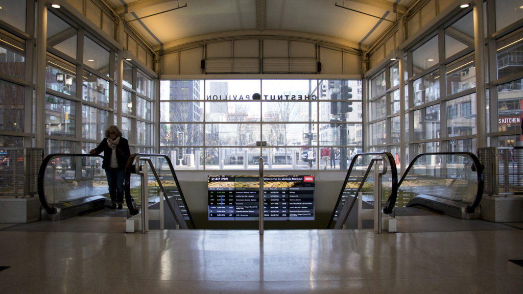 Chestnut Pavilion, the bus shelter at Union Station, Dec. 13, 2018. (Kevin J. Beaty/Denverite)