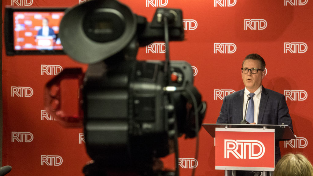 RTD General Manager and CEO Dave Genova speaks during a press conference the agency's downtown headquarters, Dec. 18, 2018. (Kevin J. Beaty/Denverite)
