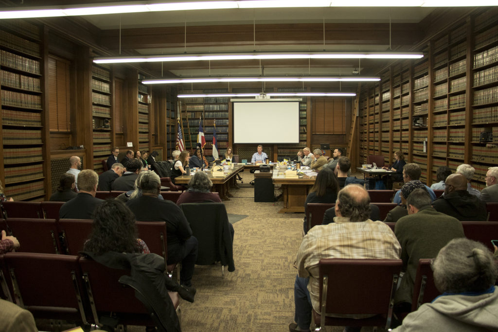 A Denver zoning committee meeting, Dec. 19, 2018. (Kevin J. Beaty/Denverite)