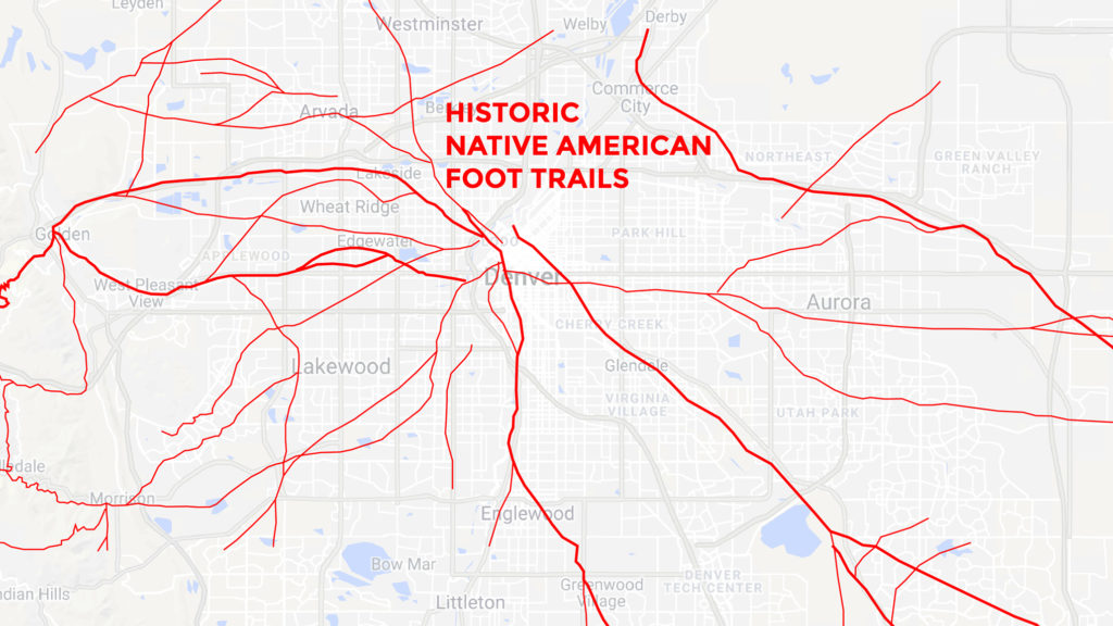 Old foot and wagon trails mapped by Glenn Scott laid atop a current Google map of Denver.
