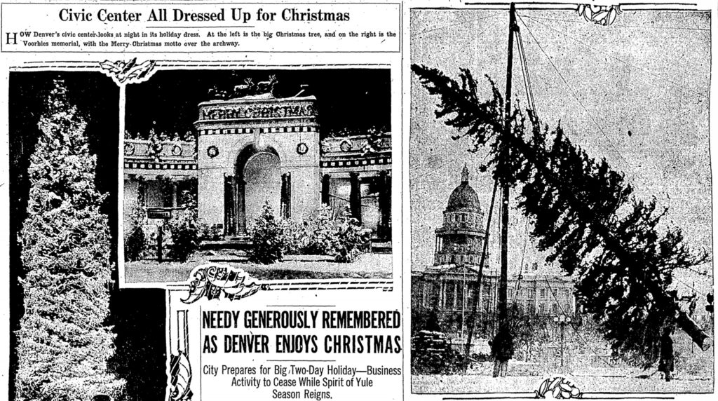 Stories in the Denver Post about Christmas Decorations at Civic Center Park before the City and County Building was erected, 1926. (Denver Post/Readex)