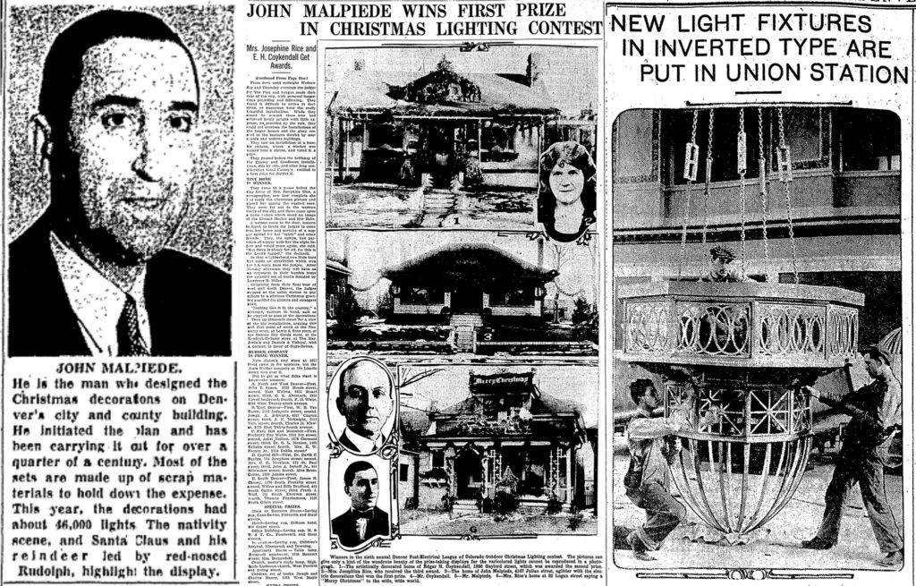"Three articles about Denver's city electrician, John Milpiede, in the Denver Post. Left to right: ""New Faces in the Denver Post Gallery of Fame,"" Dec. 27, 1952, ""John Malpiede Wins First Prize..."" Jan. 2, 1927 (that's his house in the middle and his portrait on the bottom) and ""New Light Fixtures..."" Oct. 19, 1915 (that's him in the middle). (Denver Post/Readex)"